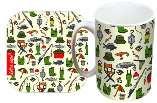Selina-Jayne Fishing Limited Edition Designer Mug and Coaster Gift Set